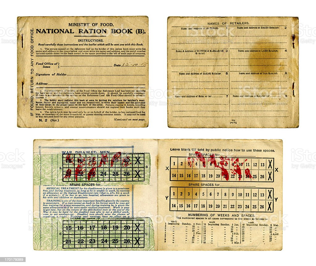 Old British Food Ration book from 1918 stock photo