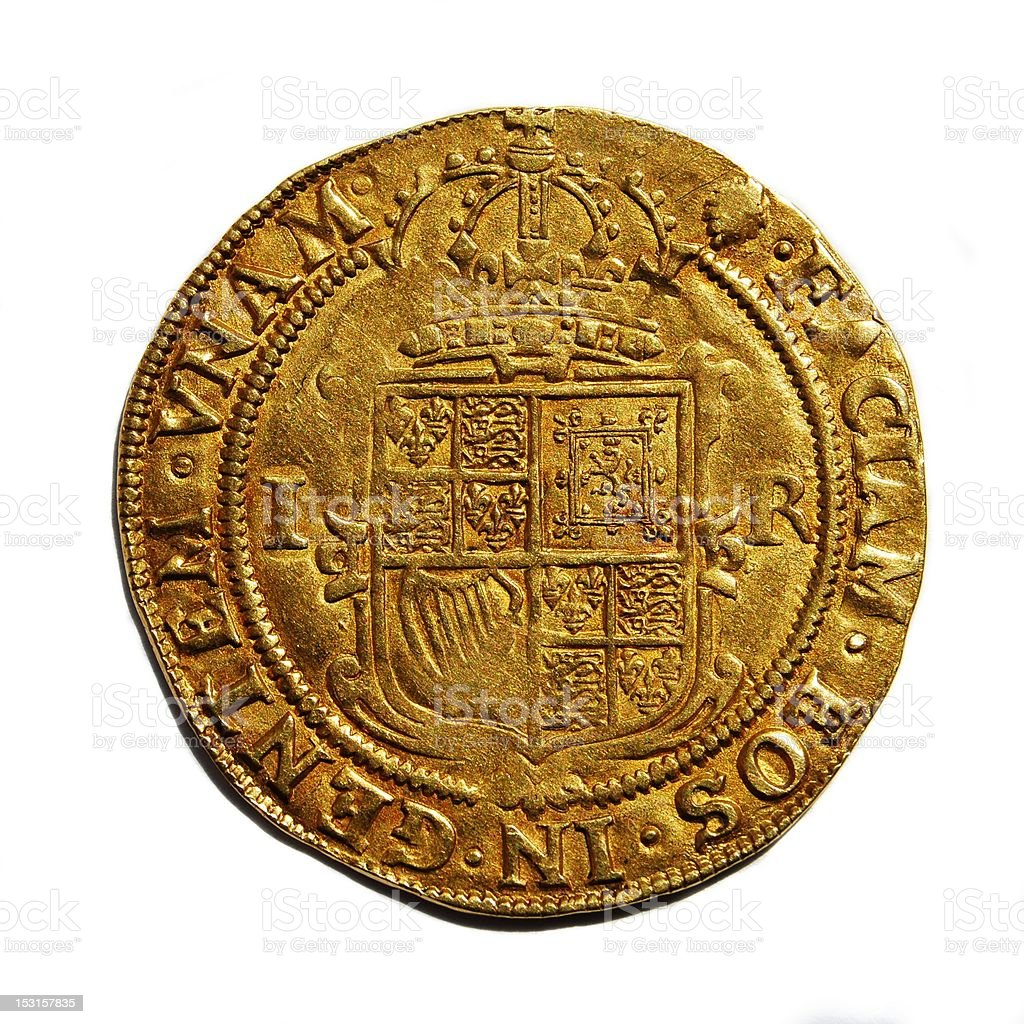 Old British hammered gold coin isolated royalty-free stock photo