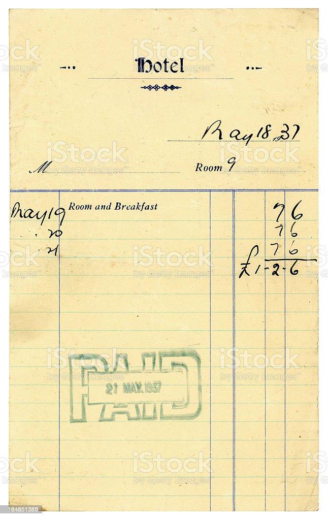 Old British hotel bill, 1937 royalty-free stock photo