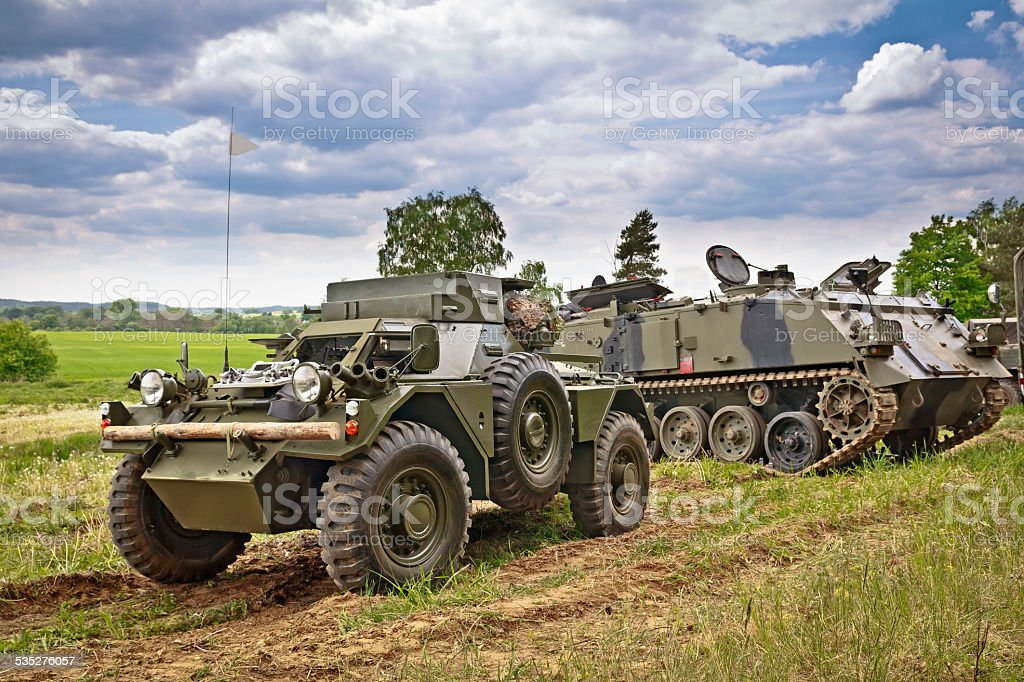Old British mmilitary vehicles stock photo