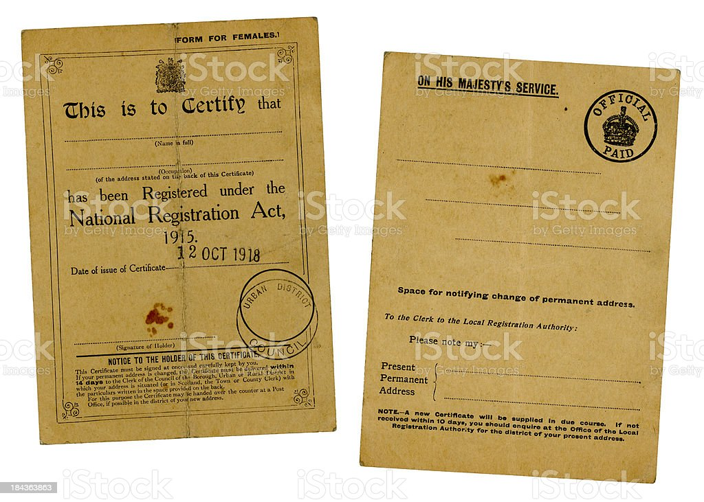 Old British National Registration Certificate, back and front, 1918 royalty-free stock photo