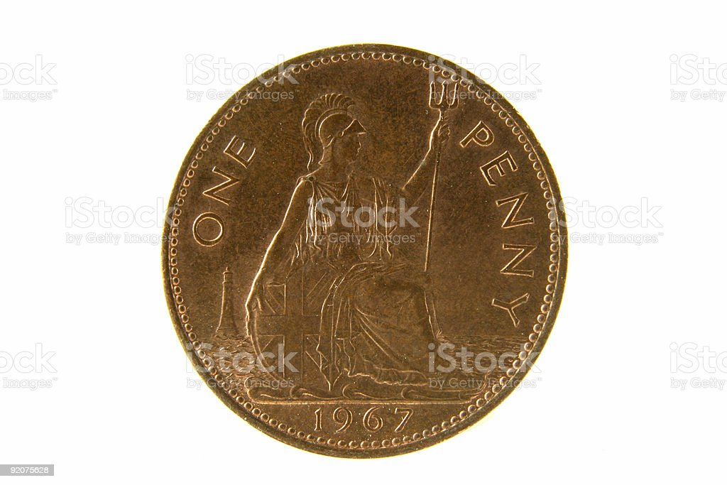 Old British Penny Isolated stock photo
