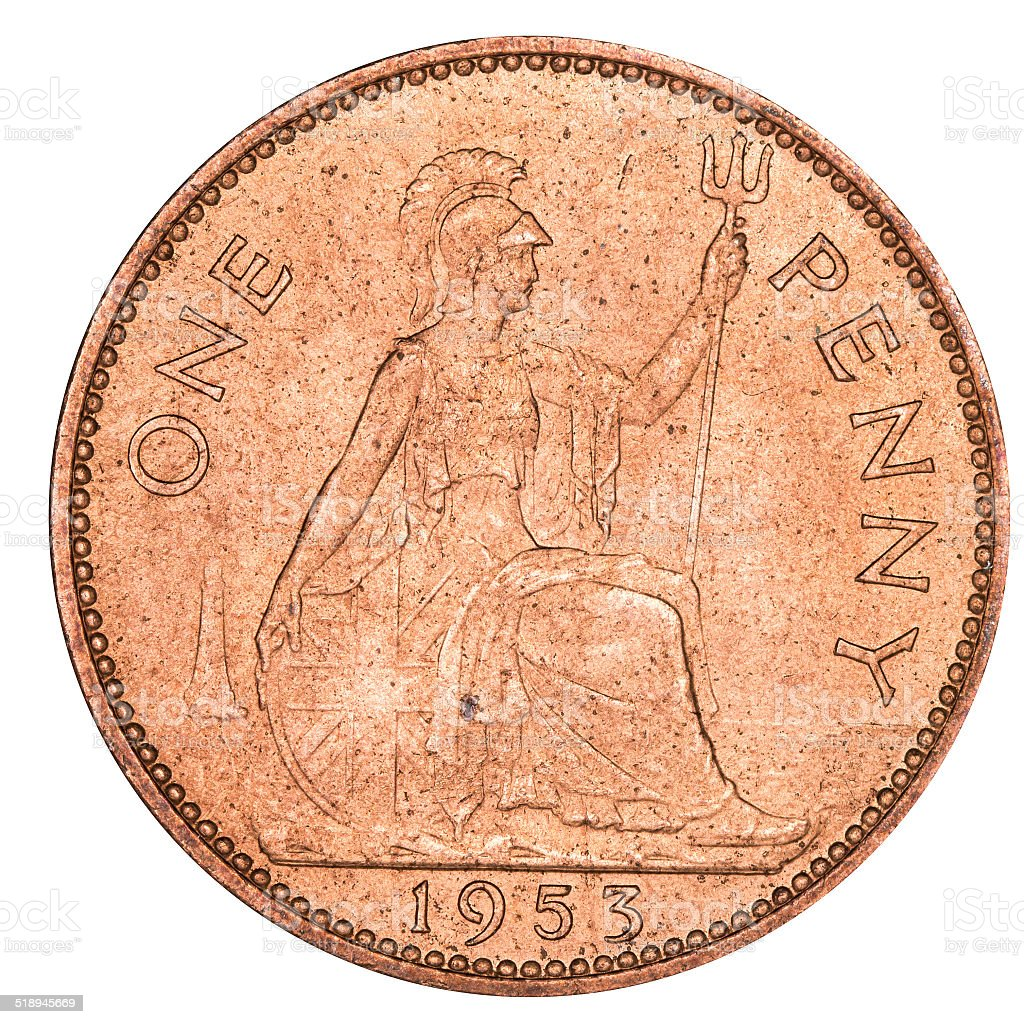 Old British Penny stock photo