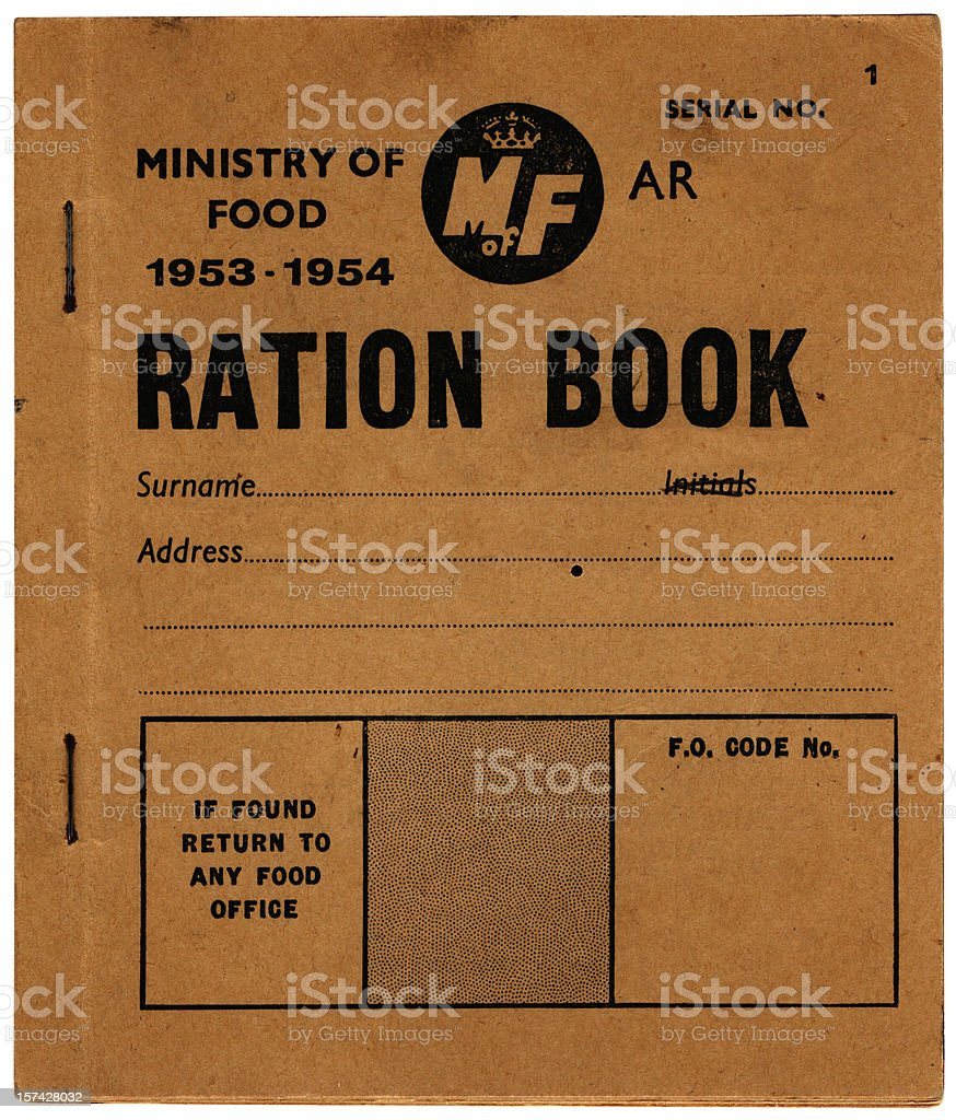 Old British ration book - front cover stock photo