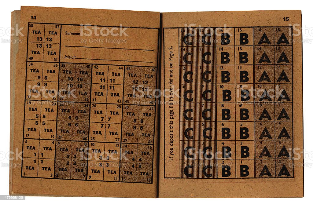 Old British ration book inside spread stock photo