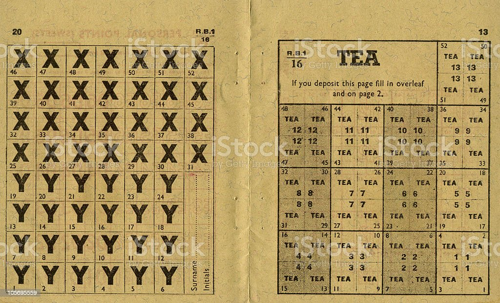 Old British Ration Book stock photo