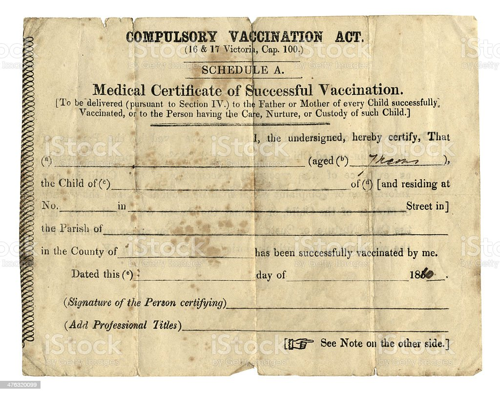 Old British vaccination certificate, 1860 stock photo