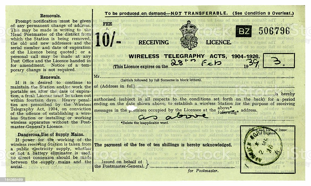 Old British wireless license from 1939 stock photo