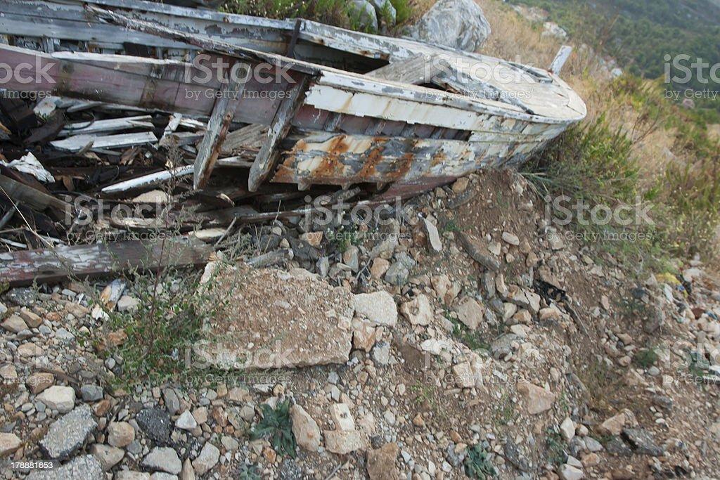 Old broken boat in the desert royalty-free stock photo