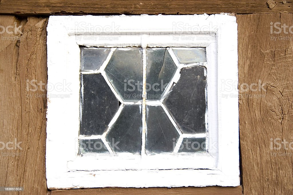 Old Broken Leaded Window royalty-free stock photo