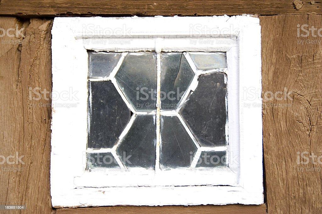 Old Broken Leaded Window stock photo