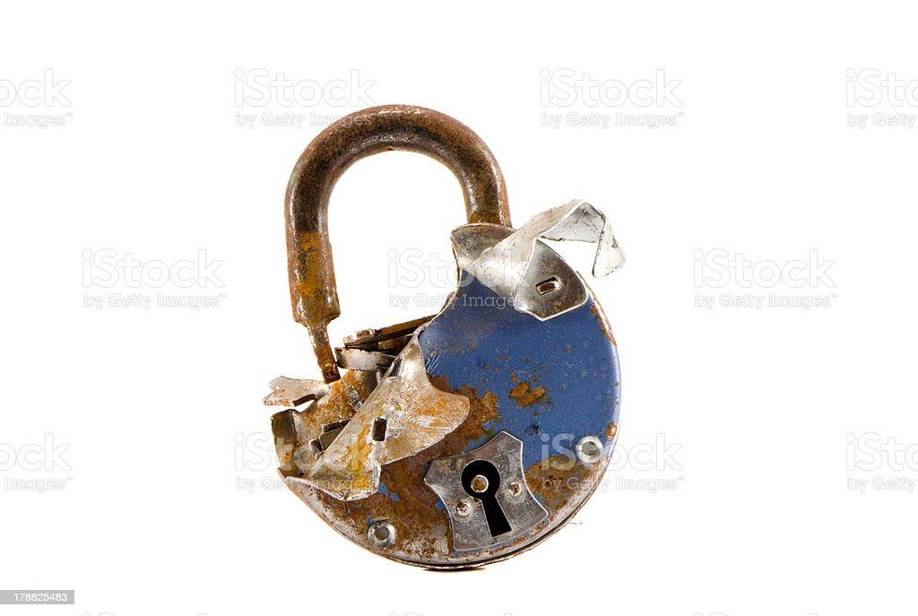 old broken metal lock isolated on white stock photo