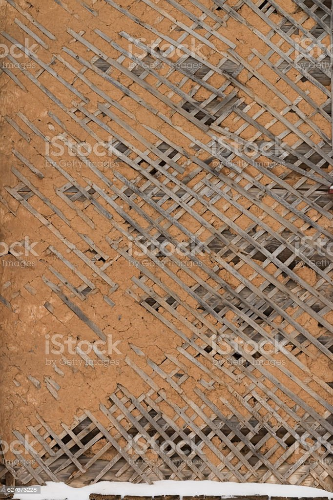Old Broken plaster on lath. stock photo