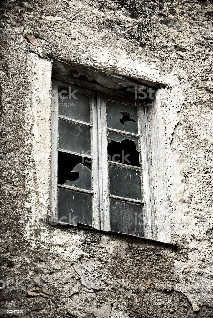 old broken window royalty-free stock photo