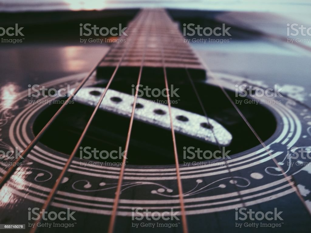Old broken with guitar string stock photo