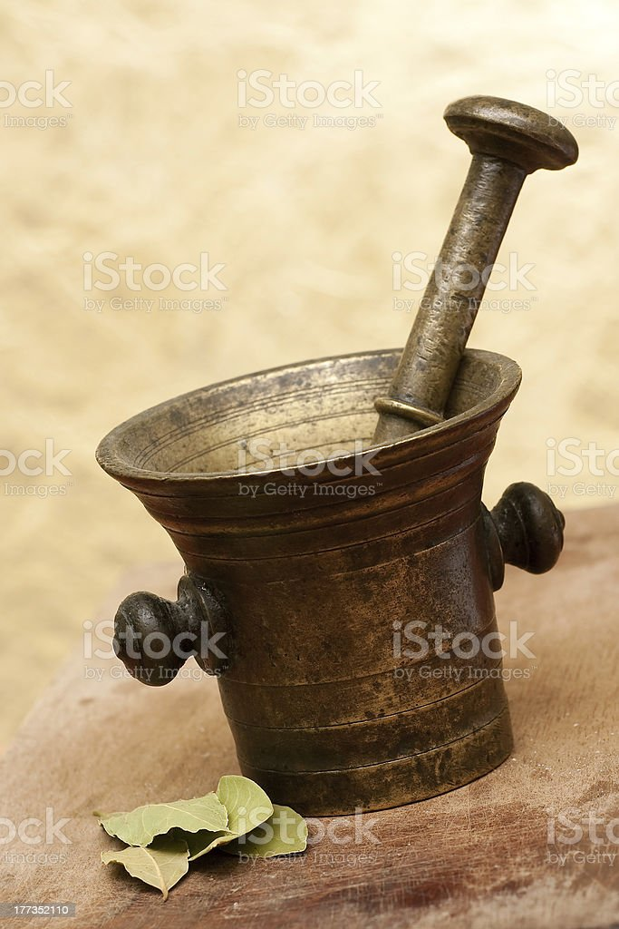Old bronze mortar and pestle royalty-free stock photo