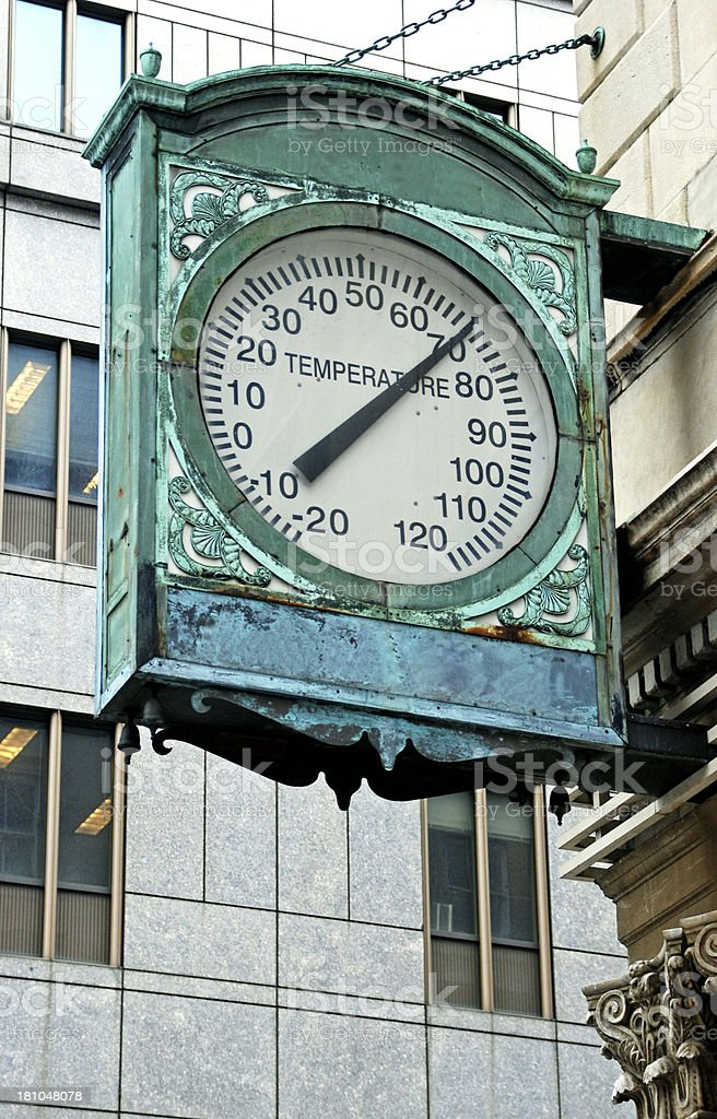 Old bronze thermometer on historic building in Midtown Manhattan royalty-free stock photo