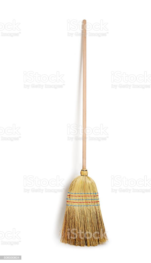 old broom new broom isolated stock photo