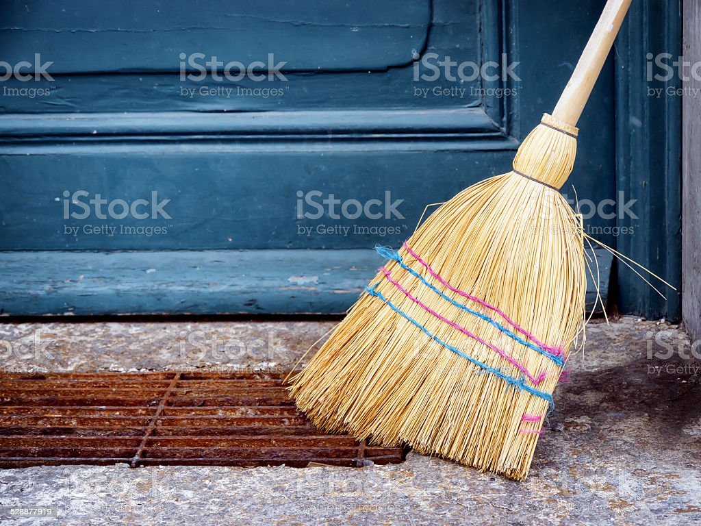 old broom stock photo