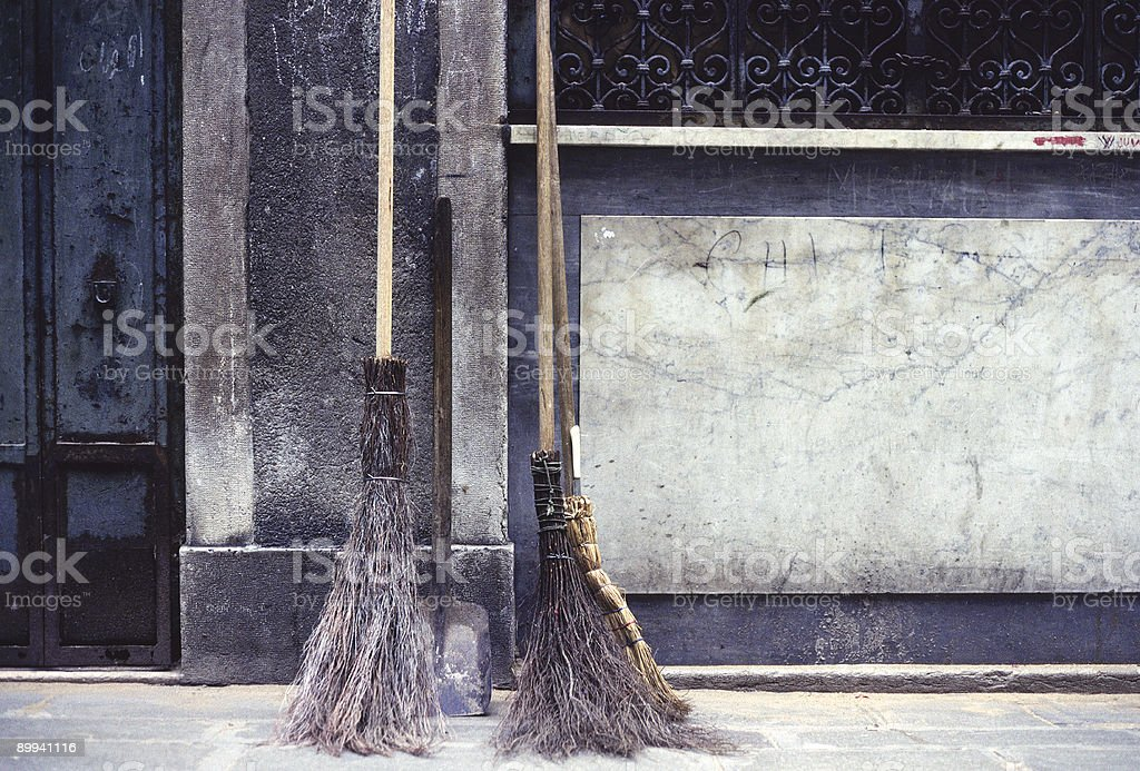 Old Brooms, Venice, Italy stock photo