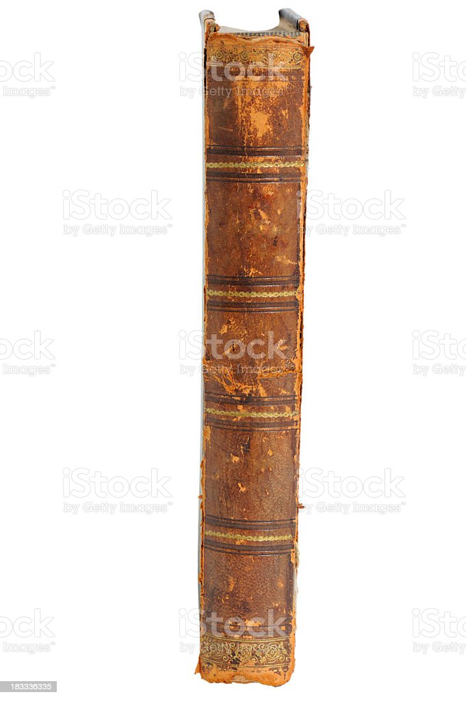 Old brown book on a white background with gold details stock photo
