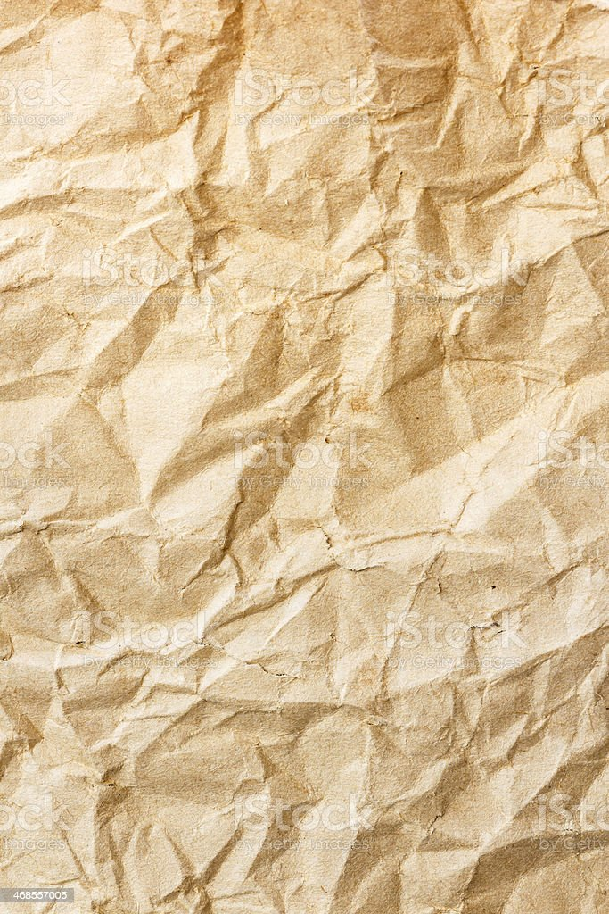 old brown crumpled paper stock photo