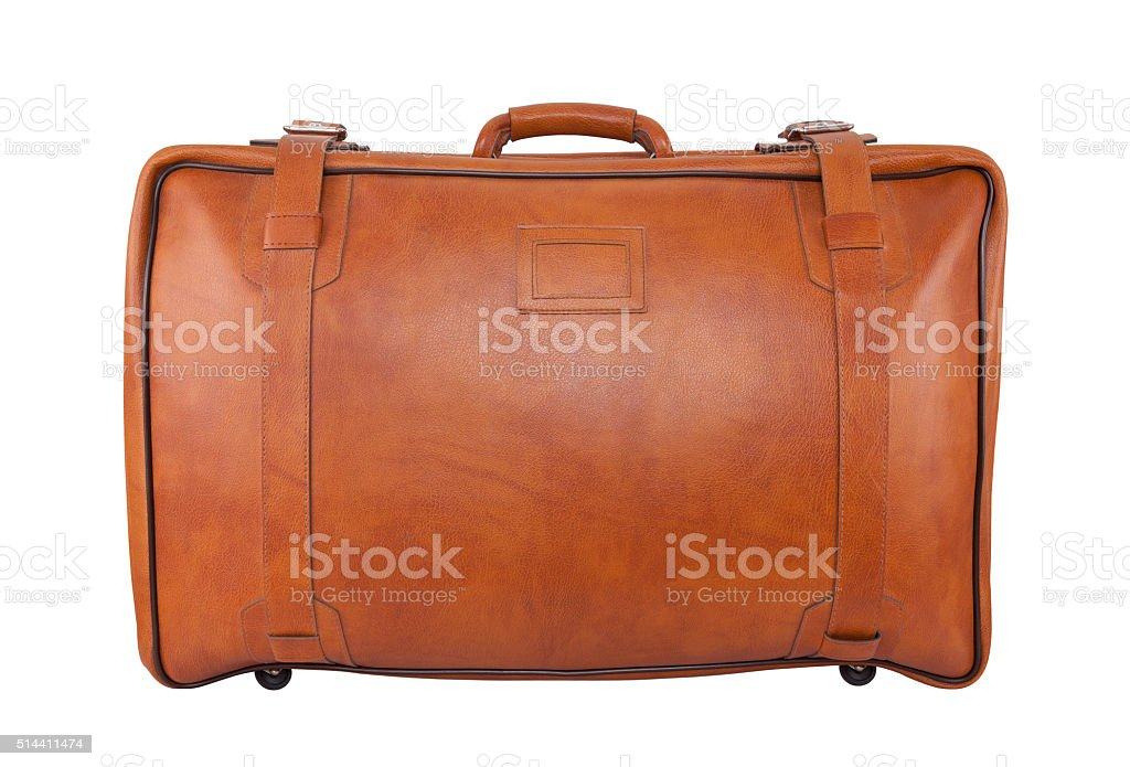 Old brown leather bag isolated on white with clipping path stock photo