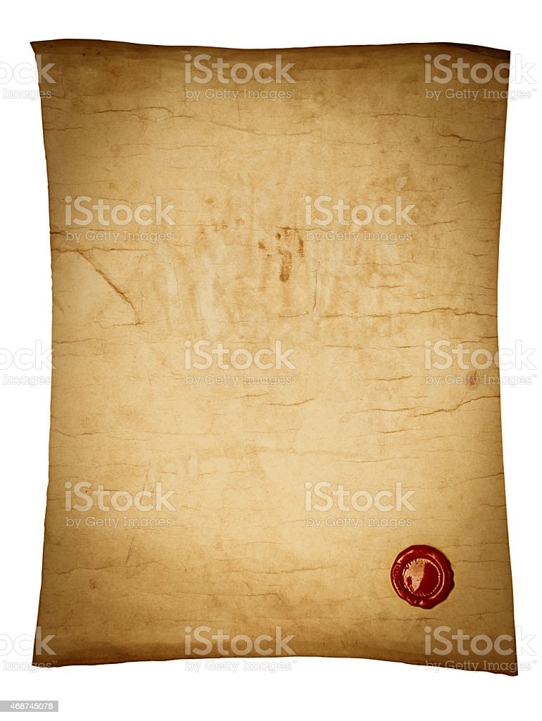 Old brown paper scroll with red wax seal stock photo