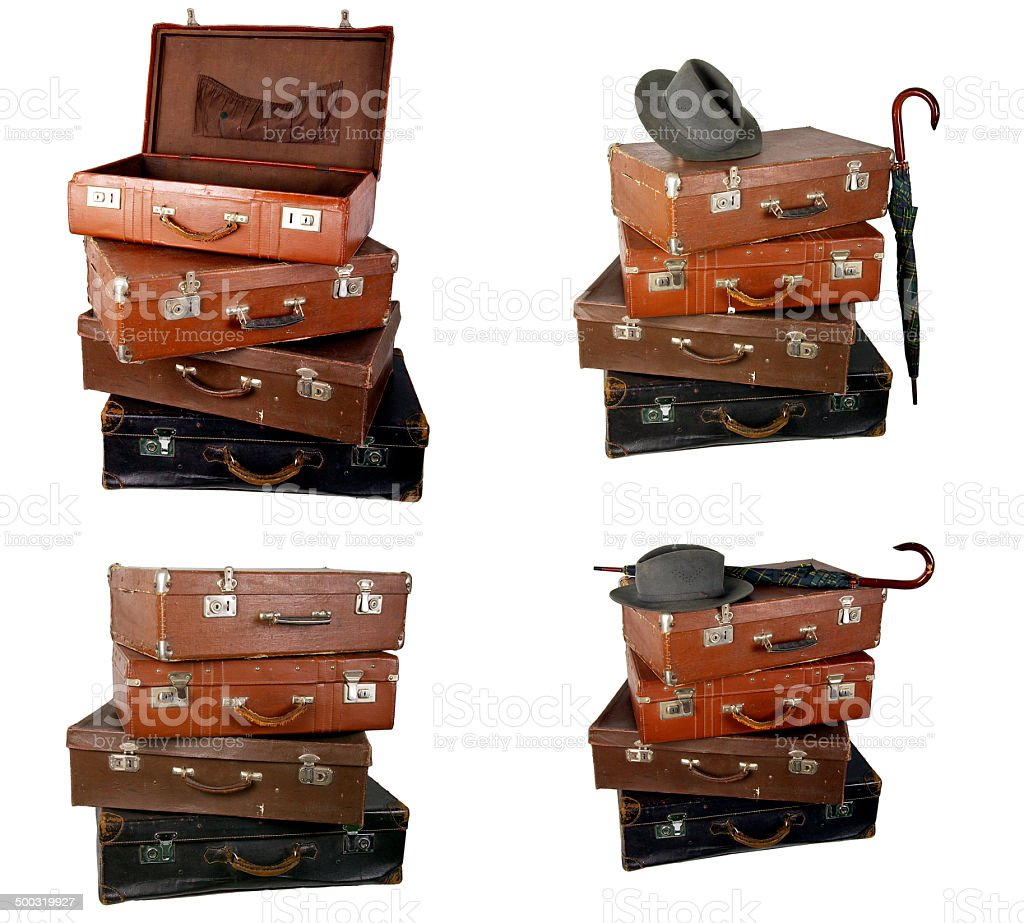 Old brown suitcase stock photo