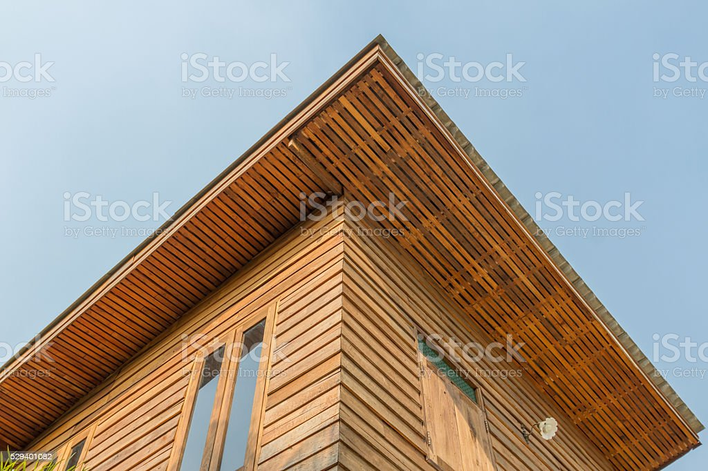 Old brown wood house stock photo