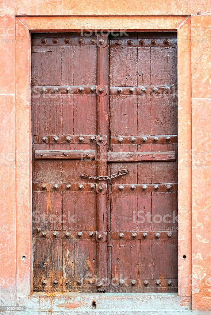 Old brown wooden door. stock photo