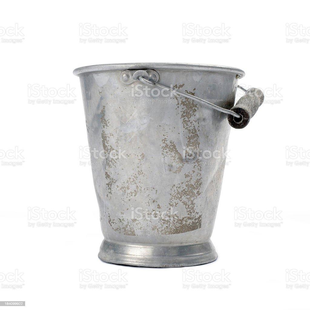 old bucket, aluminum, 50s-60s, isolated royalty-free stock photo