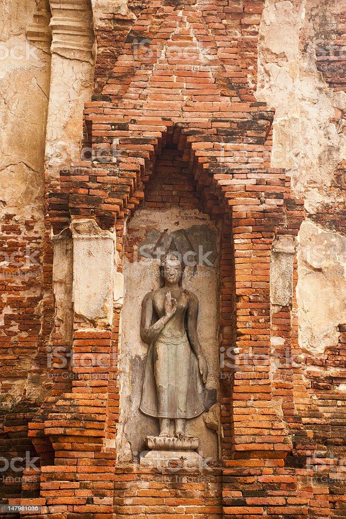 Stary Budda w Ayutthaya zbiór zdjęć royalty-free