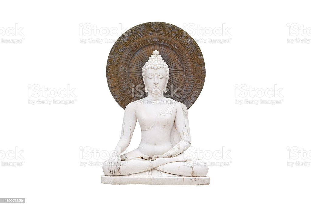 old  Buddha, isolated on white background  ,with clipping path stock photo