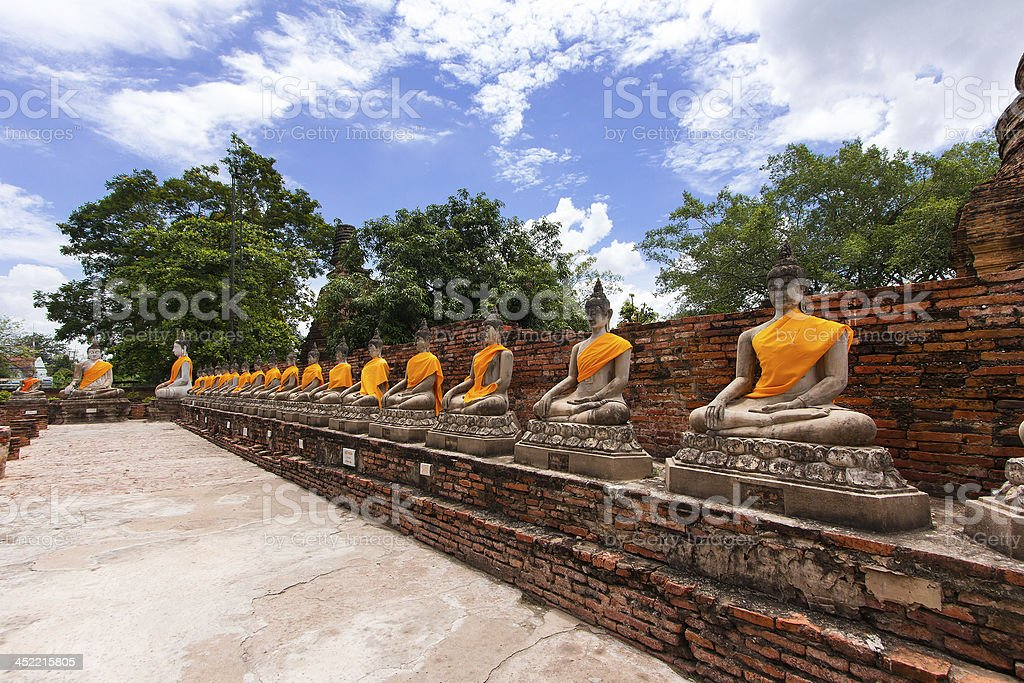 Old Buddha statue in temple at Ayutthaya province, Thailand royalty-free stock photo