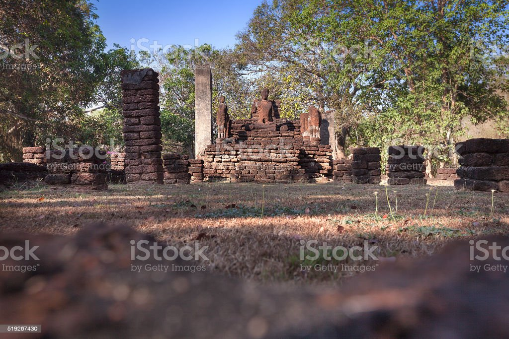Old buddha statue in the Kamphaeng Phet Historical Park, Thailan stock photo