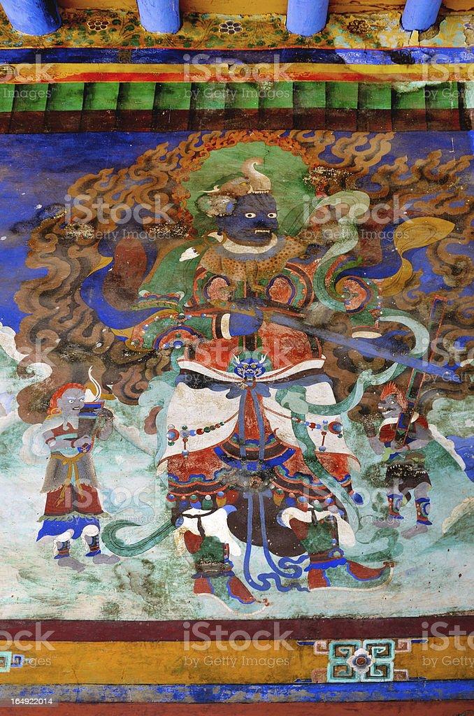 Old buddhist fresco royalty-free stock photo