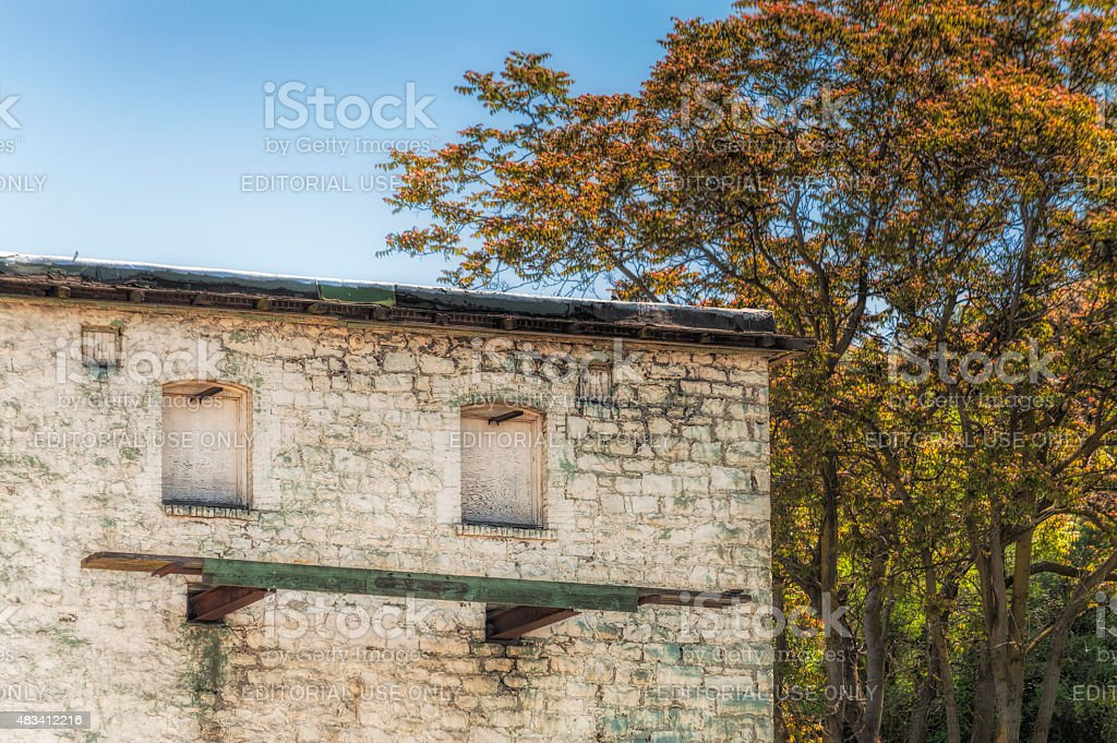 Old Building and Trees in The Dalles, Oregon stock photo