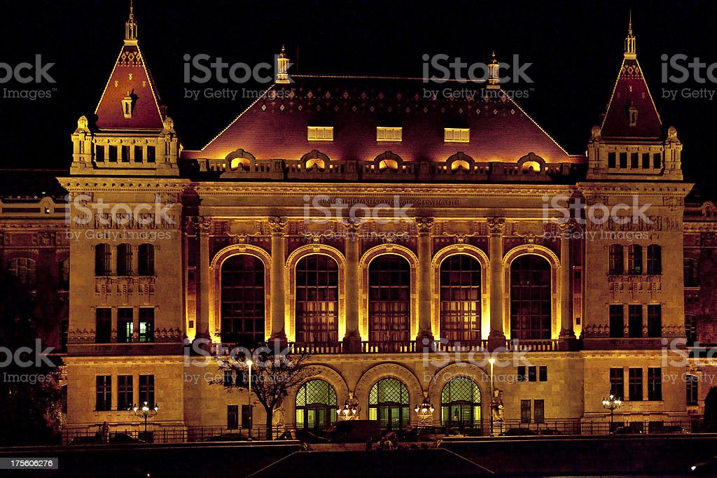 old building at night in Budapest stock photo