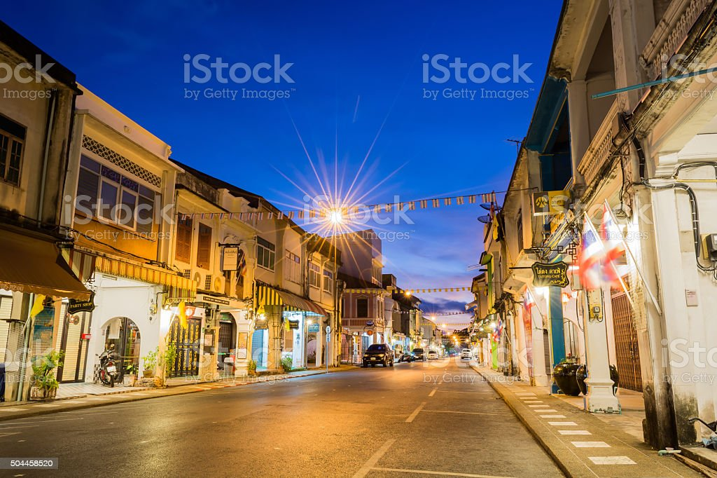 Old building Chino Portuguese style in Phuket stock photo