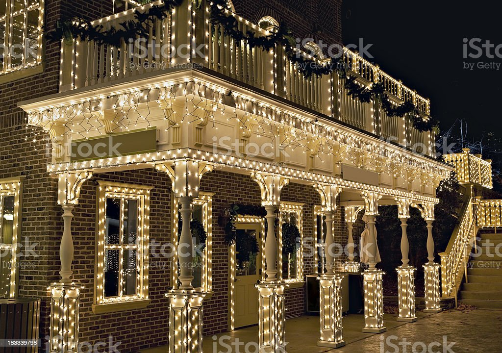 Old building covered in christmas lights royalty-free stock photo