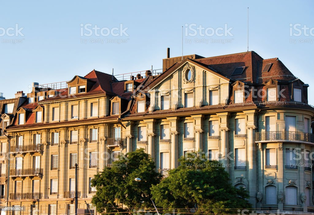 Old building in Le Flon district in Lausanne stock photo