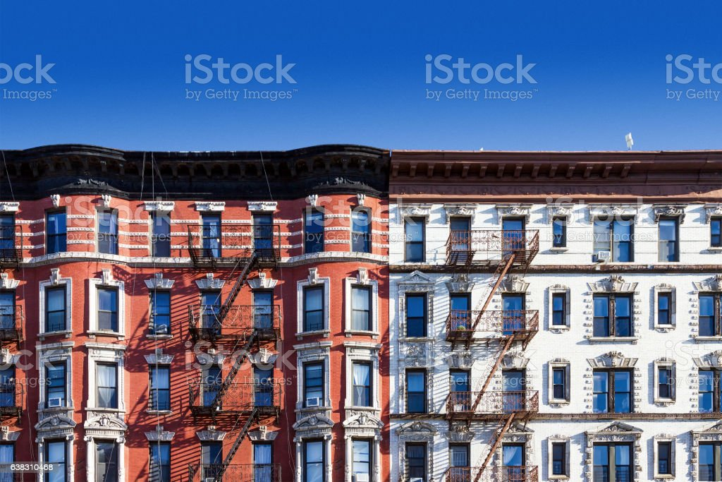 Old building in New York City with blue sky background stock photo