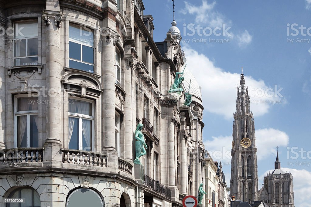 Old building in the city of Antwerp stock photo