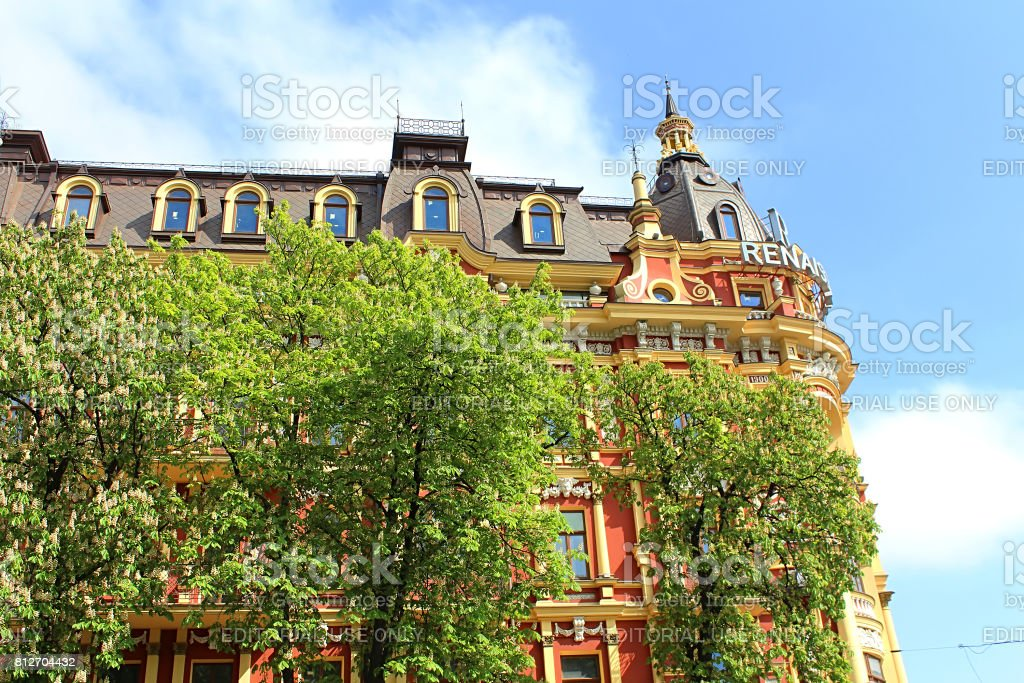 Old building in the neo-renaissance style in Kyiv. The hotel 'Renaissance Kyiv'. Built in 1899-1902 stock photo