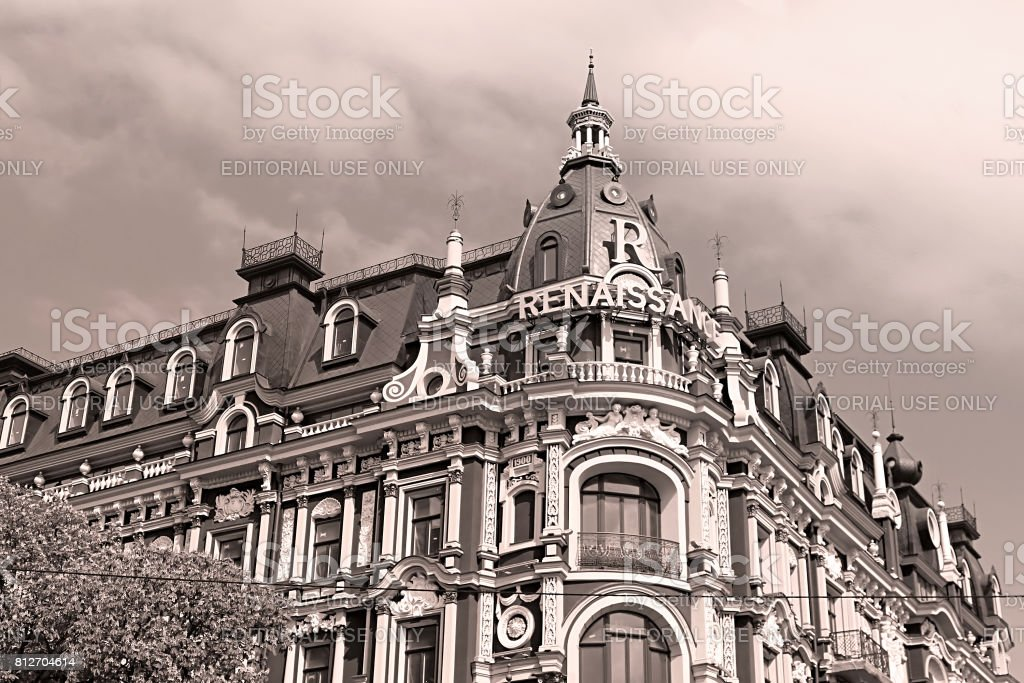 Old building in the neo-renaissance style in Kyiv. The hotel 'Renaissance Kyiv'. Built in 1899-1902. Black and white filter stock photo