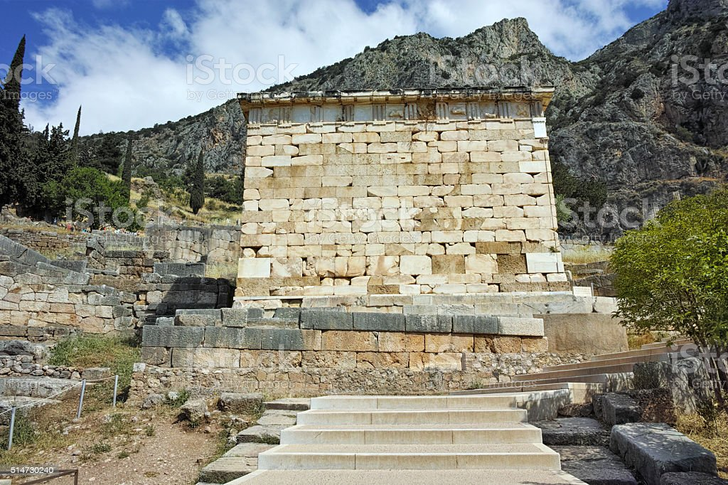 Old Building of Ancient Greek archaeological site of Delphi, Greece stock photo