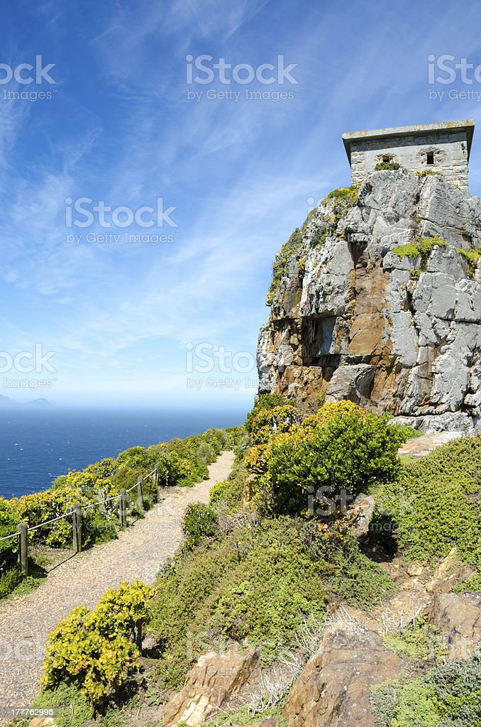 Old Building on Path to Cape Point Lighthouse royalty-free stock photo
