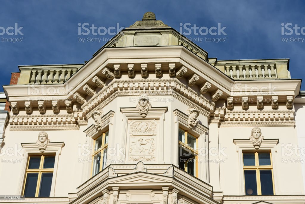 old building residential house gable against blue sky stock photo