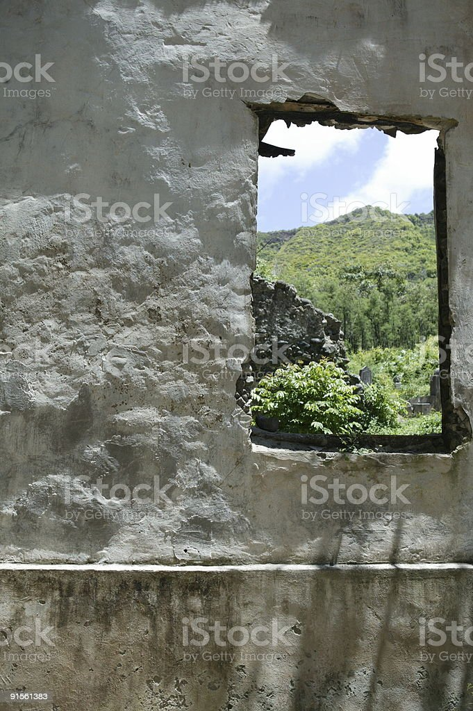 Old building window with a view royalty-free stock photo